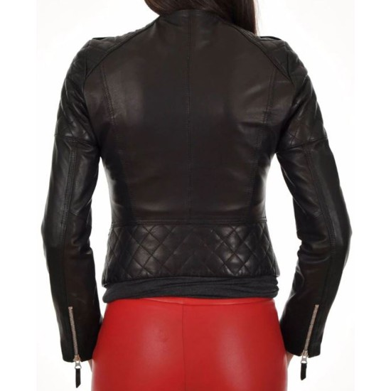 Women's FJ023 Quilted Asymmetrical Motorcycle Black Leather Jacket