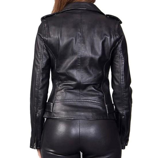 Women's FJ026 Motorcycle Asymmetrical Belted Black Leather Jacket
