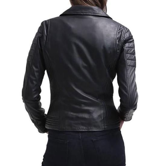 Women's FJ029 Motorcycle Zipper Pockets Black Leather Jacket