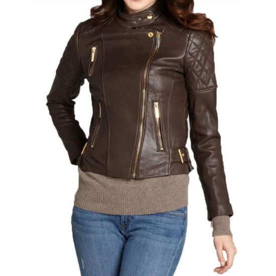 Women's FJ030 Motorcycle Asymmetrical Quilted Brown Leather Jacket