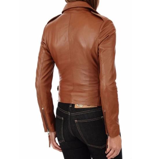 Women's FJ031 Motorcycle Waist Buckle Asymmetrical Brown Leather Jacket