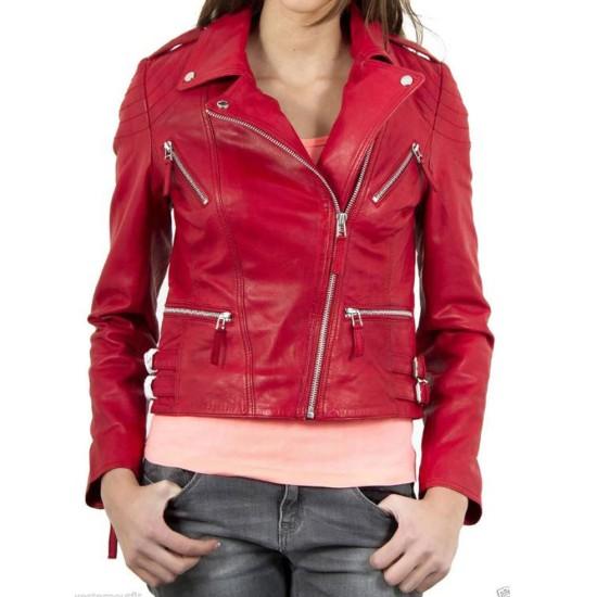 Women's FJ033 Designer Zipper Pockets Red Leather Motorcycle Jacket