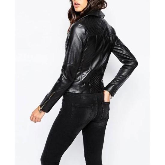 Womens FJ035 Biker Designer Quilted Black Leather Jacket