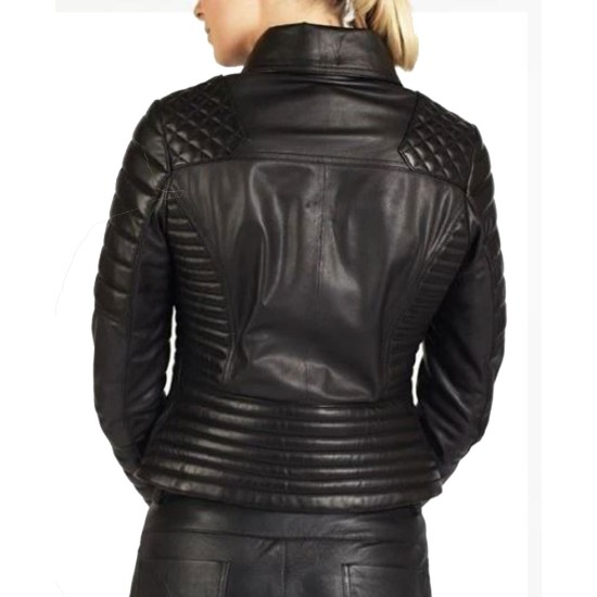 Women's FJ037 Padded and Quilted Motorcycle Black Leather Jacket