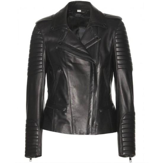 Women's FJ039 Asymmetrical Motorcycle Padded Black Leather Jacket