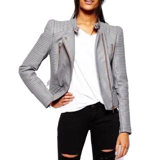 Women's FJ040 Padded Biker Asymmetrical Grey Leather Jacket