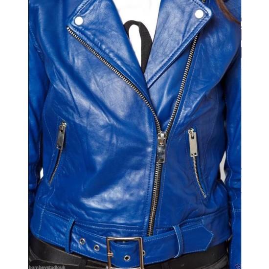 Women's FJ041 Motorcycle Asymmetrical Belted Blue Leather Jacket