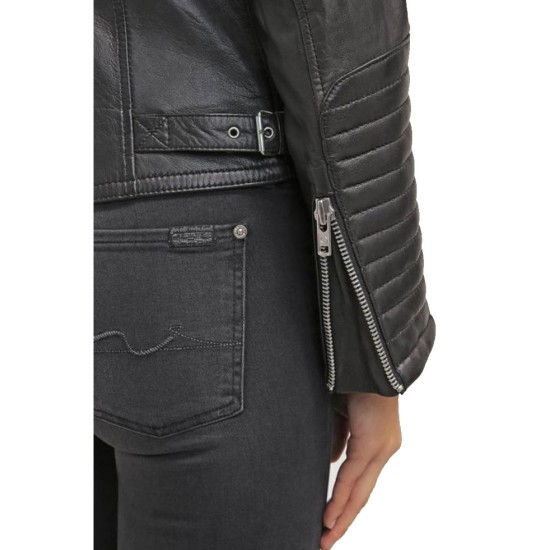 Women's FJ042 Double Breasted Motorcycle Black Leather Jacket