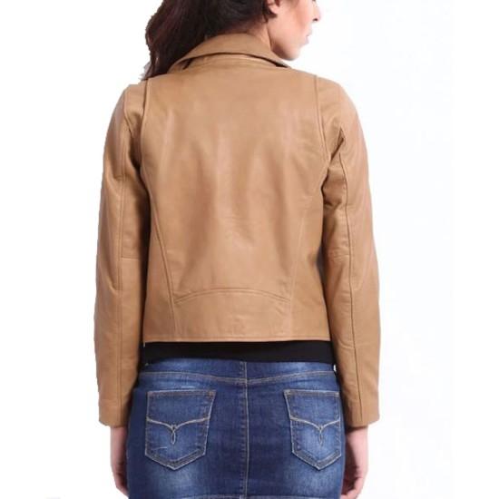 Women's FJ043 Asymmetrical Motorcycle Brown Leather Jacket