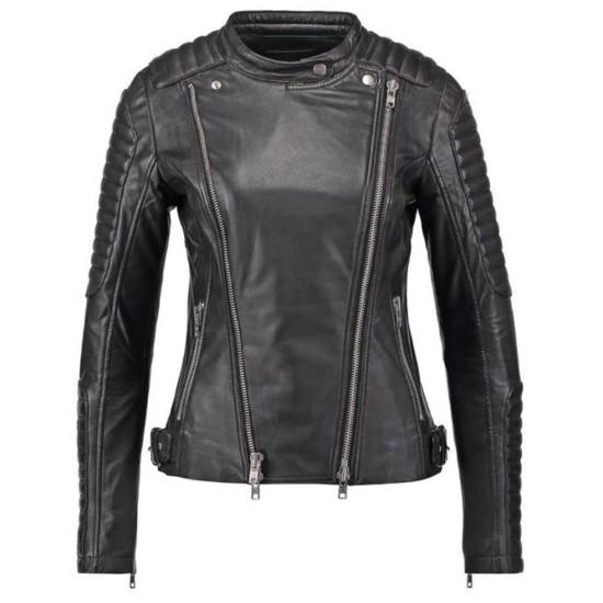 Women's FJ045 Biker Snap Tab Collar Padded Black Leather Jacket