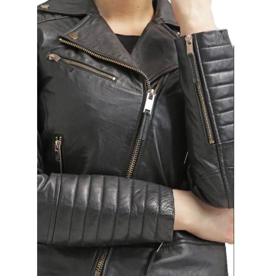 Women's FJ046 Biker Asymmetrical Padded Style Black Leather Jacket