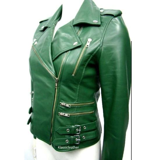 Women's FJ048 Buckle Style Asymmetrical Green Motorcycle Leather Jacket