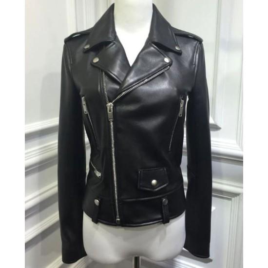 Women's FJ049 Motorcycle Asymmetrical Sheepskin Black Leather Jacket