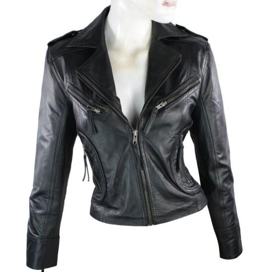 Women's FJ050 Zipper Pockets Black Leather Motorcycle Jacket
