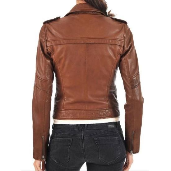 Women's FJ051 Asymmetrical Zipper Pockets Biker Brown Leather Jacket