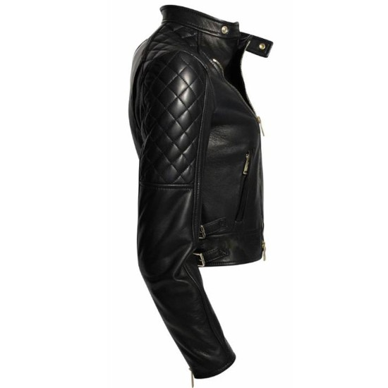 Womens FJ052 Asymmetrical Zipper Biker Quilted Black Leather Jacket