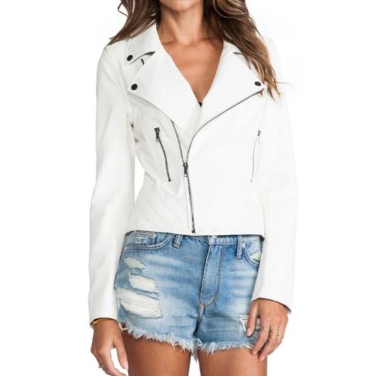 Women's FJ053 Asymmetrical White Motorcycle Leather Jacket