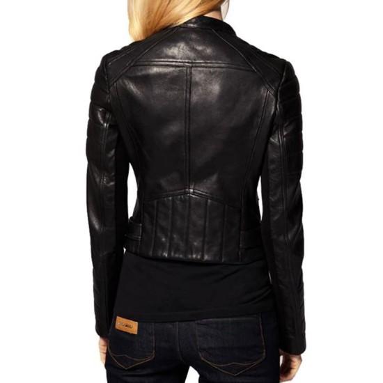 Women's FJ055 Motorcycle Designer Padded Black Leather Jacket