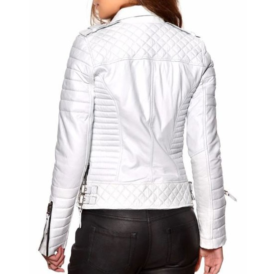 Women's FJ060 Quilted and Padded Motorcycle White Leather Jacket