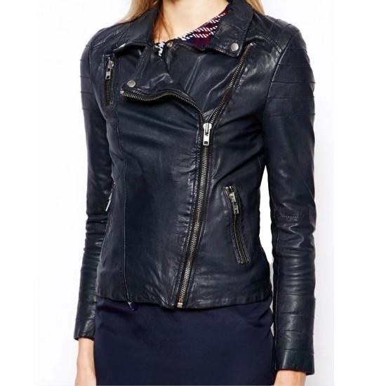 Women's FJ064 Asymmetrical Motorcycle Navy Blue Leather Jacket