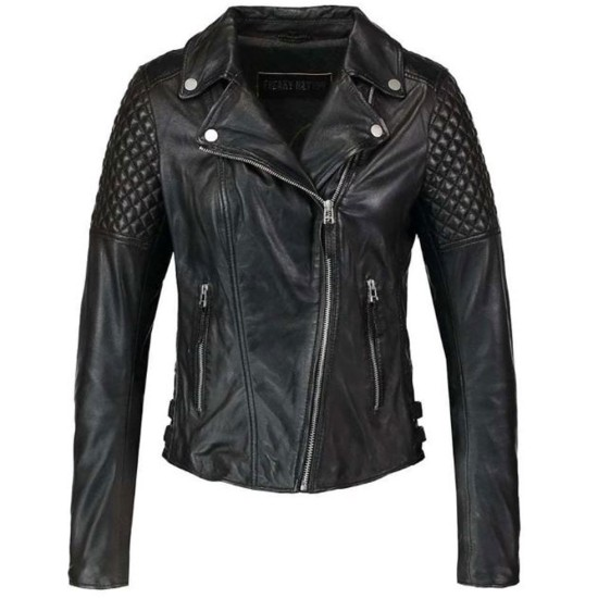 Women's FJ066 Diamond Quilted Motorcycle Black Leather Jacket