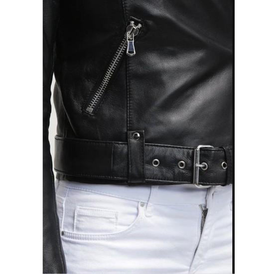 Women's FJ067 Motorcycle Asymmetrical Belted Black Leather Jacket