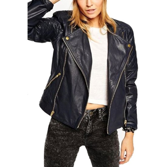 Women's FJ068 Quilted Motorcycle Asymmetrical Navy Blue Leather Jacket