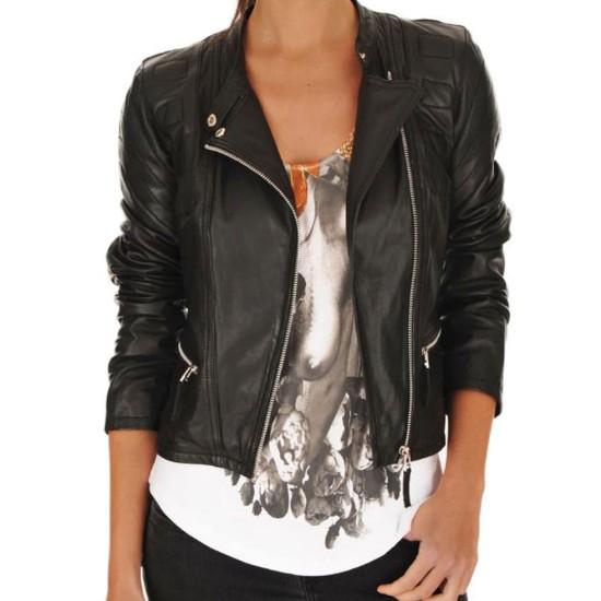 Women's FJ072 Designer Asymmetrical Motorcycle Black Leather Jacket
