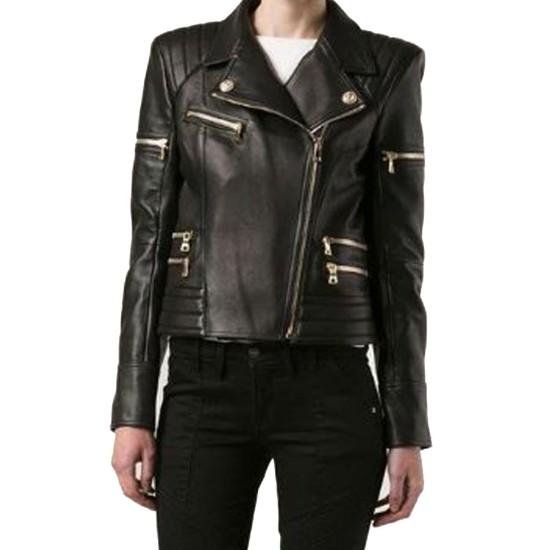Women's FJ073 Padded Motorcycle Black Leather Jacket