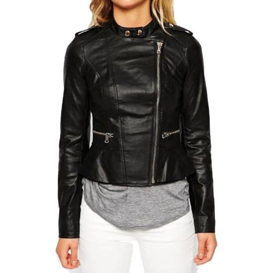Women's FJ075 Asymmetrical Black Leather Biker Jacket