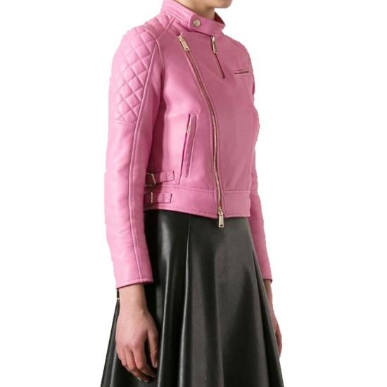 Women's FJ076 Biker Quilted Asymmetrical Pink Leather Jacket
