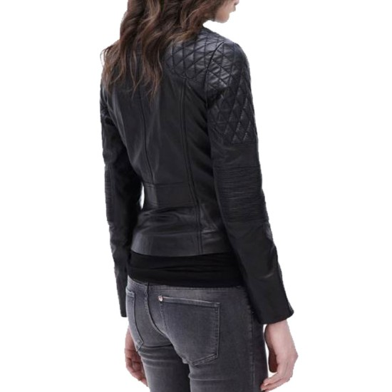Women's FJ078 Quilted Black Leather Motorcycle Jacket