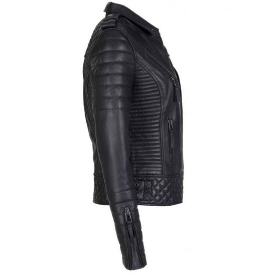 Women's FJ085 Quilted and Padded Black Leather Motorcycle Jacket
