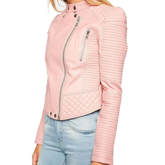 Women's FJ087 Quilted and Padded Biker Pink Leather Jacket