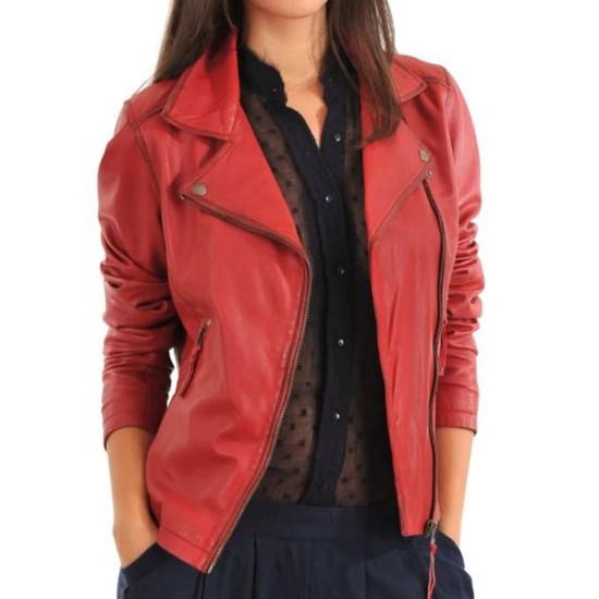 Women's FJ088 Asymmetrical Red Leather Motorcycle Jacket