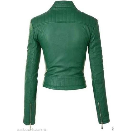 Women's FJ091 Motorcycle Zipper Pockets Green Leather Jacket