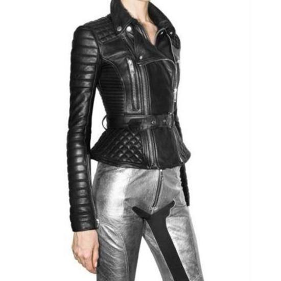 Women's FJ093 Biker Padded Belted Black Leather Jacket