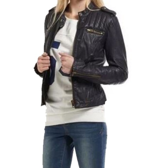 Women's FJ094 Zipper Pockets Cropped Biker Black Leather Jacket
