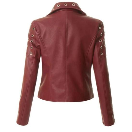 Women's FJ300 Motorcycle Designer Burgundy Leather Jacket