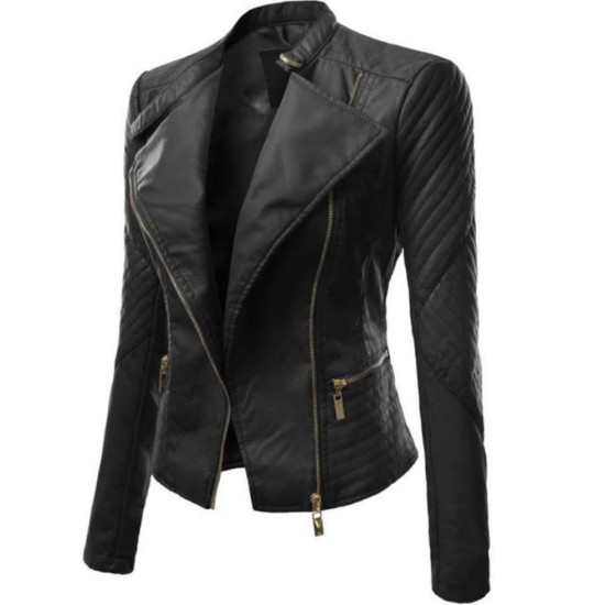 Women's FJ340 Asymmetrical Designer Motorcycle Black Leather Jacket