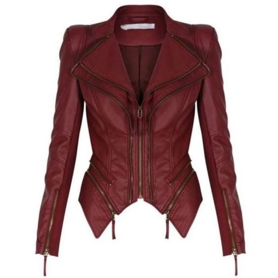 Women's FJ348 Tuxedo Motorcycle Zipper Burgundy Leather Jacket