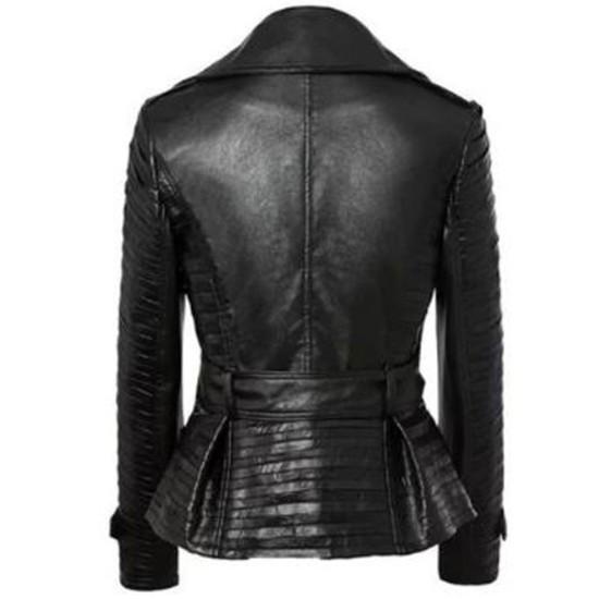 Women's FJ358 Belted Asymmetrical Zipper Black Leather Jacket