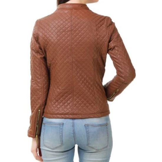 Women's FJ380 Quilted Casual Brown Leather Jacket