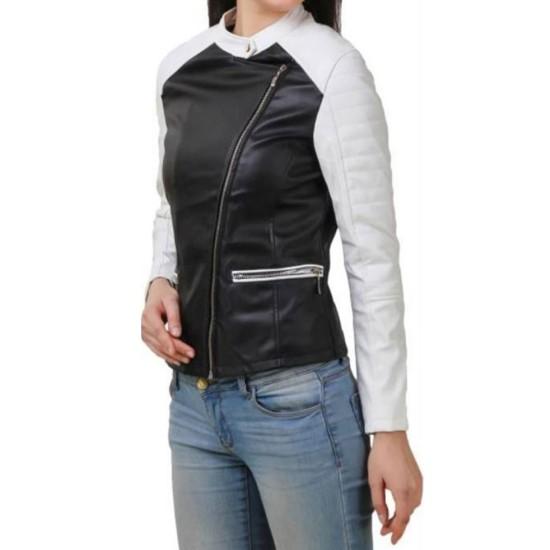 Women's FJ397 Motorcycle White and Black Leather Jacket
