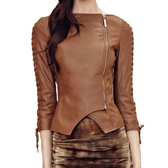 Women's FJ455 Party Wear Designer Brown Leather Jacket