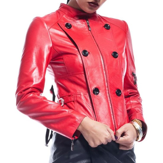 Women's FJ475 Hot Red Double Breasted Leather Jacket