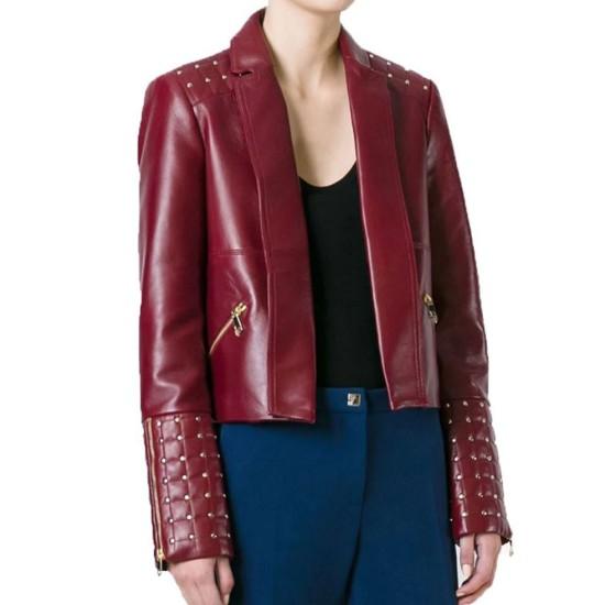 Women's FJ479 Designer Burgundy Golden Studded Leather Jacket