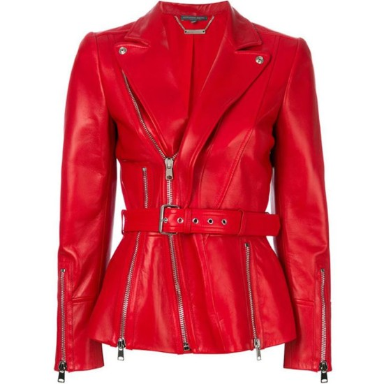 Women's FJ548 Belted Blazer Style Red Leather Biker Jacket
