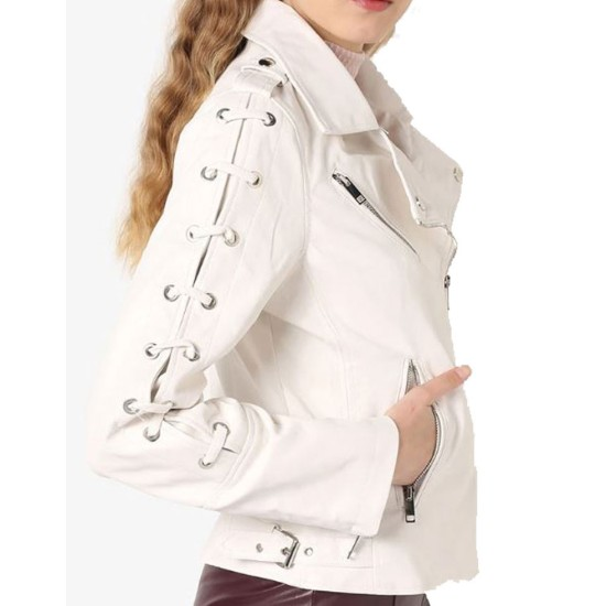 Women's FJ556 Motorcycle Designer Laces White Leather Jacket