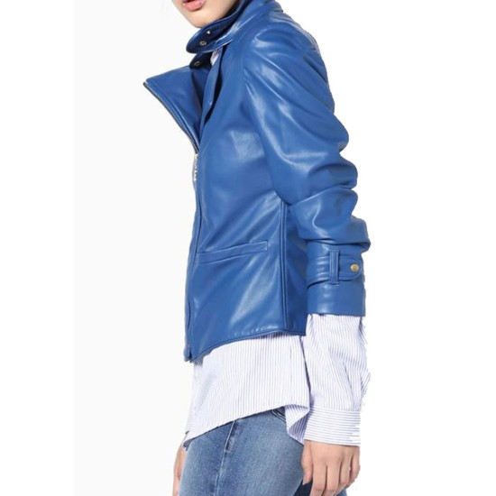 Women's FJ577 Motorcycle Quilted Asymmetrical Blue Leather Jacket